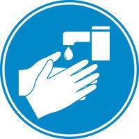 hand washing icon or symbol on blue background
