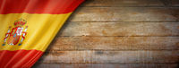 Spanish flag on vintage wood wall banner
