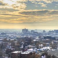 Square frame Sunset view of Salt Lake City, Utah in winter