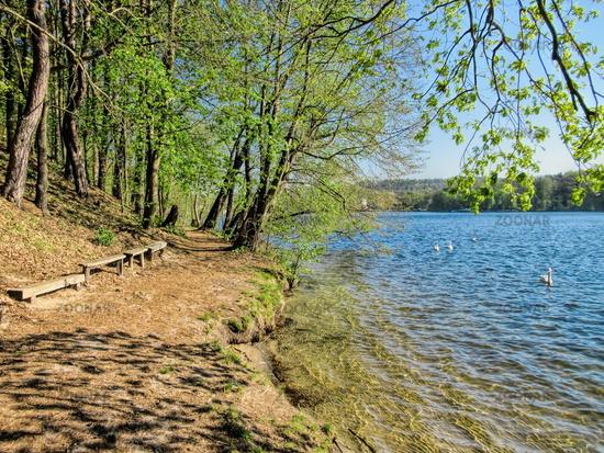 Erkner, Germany - April 23rd, 2019 - picturesque shore at the Flaken lake