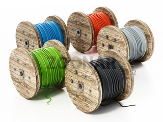 Large spools of colored cables isolated on white background. 3D illustration
