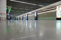Closed shops in hall A in Airport Frankfurt Rhine Main during Corona