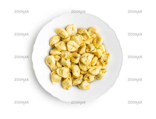 Tortellini pasta on plate. Italian stuffed pasta.