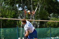 Orenburg, Russia, 9-10 June 2017 year: Boys playing beach volleyball on City tournament Beach Volley