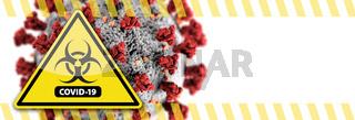 Banner of Coronavirus COVID-19 Bio-hazard Warning Sign with Virus Illustration Behind