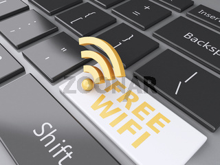 free wifi button on computer keyboard. 3d illustration