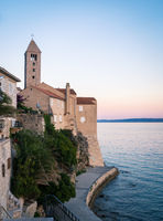 Walls and church of old town of rab in Croatia