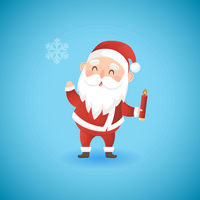 Festive Christmas funny Santa Claus holding candle, vector illustration.