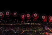 Salute over the city the megalopolis. Festive salute in the nigh