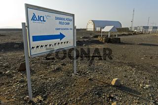 Eingang zum Danakil Pottasche Feldlager des Düngemittelproduzenten Israel Chemicals Ltd. (ICL)