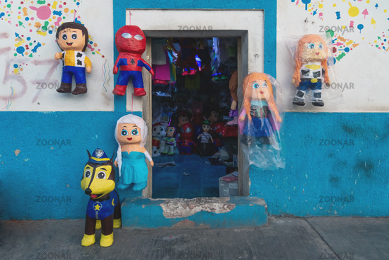 Pinata store with different dolls in Valladolid, Yucatan, Mexico
