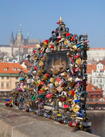 PRAGUE, CZECH REPUBLIC - FEBRUARY 19, 2015 - Love locks on the Charles Bridge