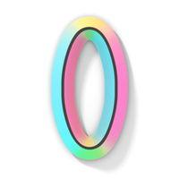 Neon color bright font Number 0 ZERO 3D