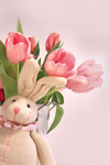Easter decorations with rabbit and tulips
