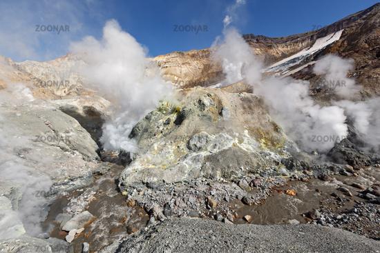 Fumarole, brimstone field in crater active volcano of Kamchatka Peninsula