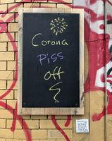 chalkboard - corona piss off