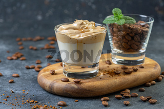Trendy Korean drink. Dalgona coffee.