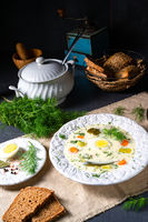 Dill soup with egg and fresh dill