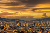Barcelona cityscape at sunset overlook