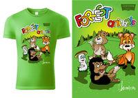 Green Child T-shirt Design with Cartoon Forestal Animals