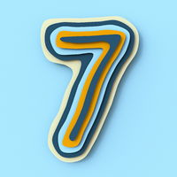Colorful paper layers font Number 7 SEVEN 3D