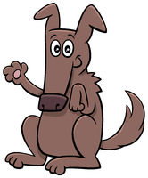 cartoon funny dog animal character waving paw