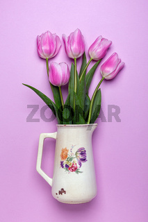 Bouquet of pink tulips. Spring flowers.