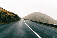 Misty Lonely Road in the Wild Atlantic Way of Ireland