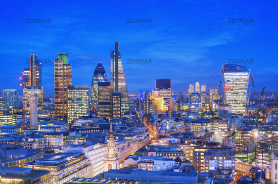 Elevated view of the Financial district of London at dusk. London, England.