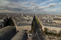 Beautiful panoramic view of Paris from the roof of the Triumphal Arch. Champs Elysees and the Eiffel Tower