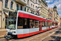 Halle Saale, Germany - 21.06.2019 - Tram in the old town