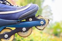 Broken skate wheel under skate
