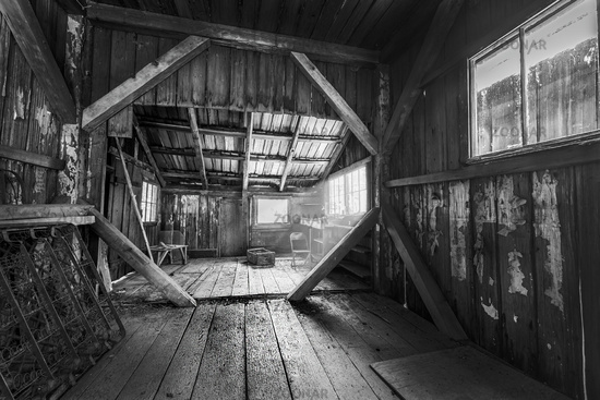 Old Cabin Interior in Black and White