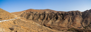 Panoramic view of mountain landscape from Mirador (viewpoint) Las Penitas. Fuerteventura. Canary Island. Spain.