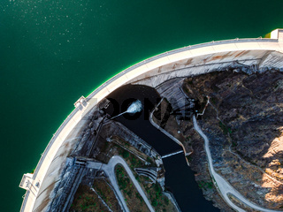 Aerial view of the Atazar reservoir and dam