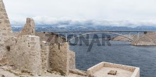 Island of Pag old desert ruins and bridge panorama view, Dalmatia, Croatia
