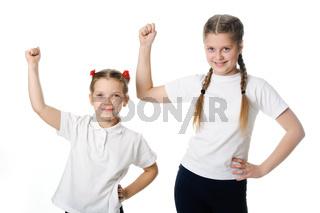 Little girls celebrate isolated on white