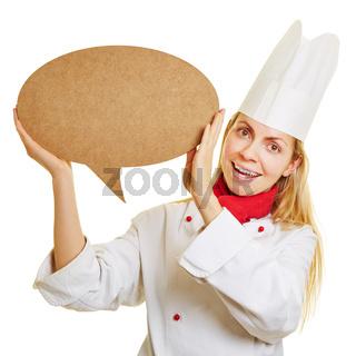 Frau als Koch mit leerer Sprechblase
