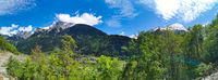 Panorama in canton Uri, Switzerland with swiss Alps and clouds