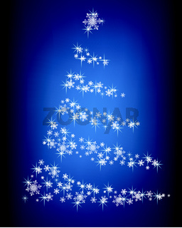 Abstract Christmas tree of snowflakes and sparks on a blue background