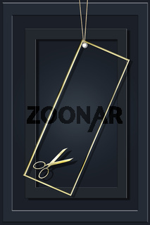Golden vertical background with professional scissors for advertising a hair salon.