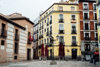 Picturesque view of Plaza de San Andres in central Madrid