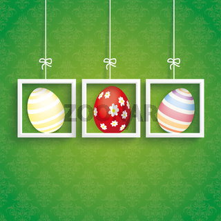 Easter Card Ornaments 3 Eggs Frames