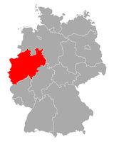 Karte von Nordrhein-Westfalen in Deutschland - Map of North Rhine-Westphalia in Germany