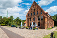 Cosy cafe on the grounds of the Bad Doberan cathedral, Bad Doberan, Mecklenburg-Western Pomerania