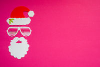 Santa Claus Paper Mask, Pink Background, Copy Space
