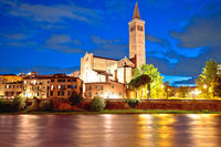 Verona. Basilica di Santa Anastasia and Adige river evening view