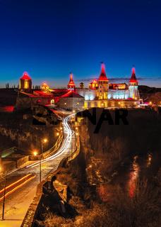 Kamianets-Podilskyi fortress on a winter night