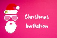 Santa Claus Paper Mask, Pink Background, Christmas Invitation