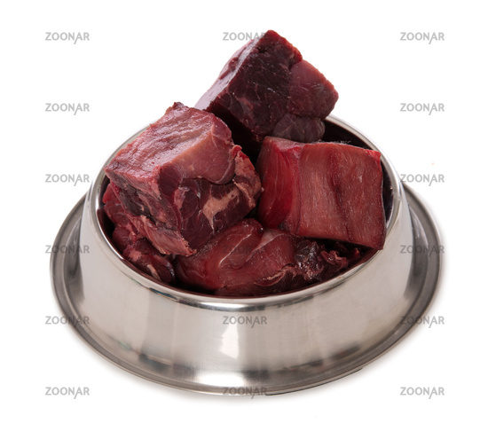 Fresh beef in a food bowl